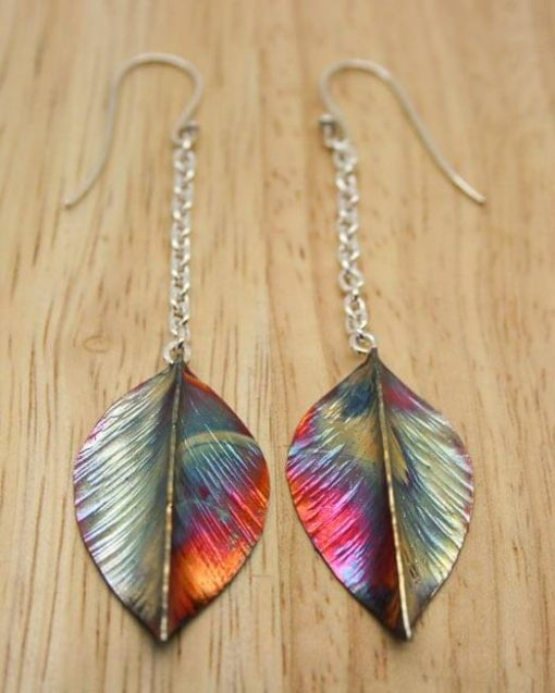 Copper and silver leaf drop earrings | Starboard Jewellery