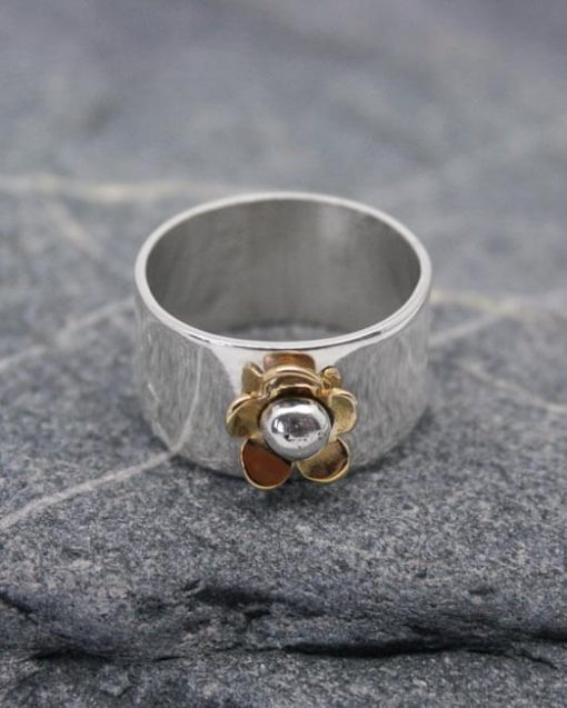 Handmade silver ring with brass daisy | Starboard Jewellery