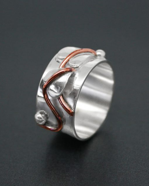Handmade silver and copper leaf ring | Starboard Jewellery