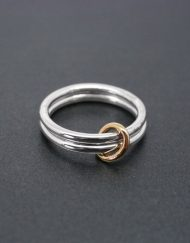 Two band loose silver ring with brass detail | Starboard Jewellery