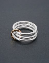 Three band silver ring with brass detail | Starboard Jewellery