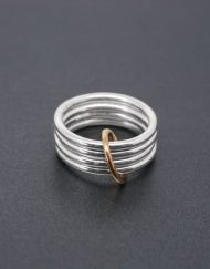 Four band loose silver ring with brass detail | Starboard Jewellery