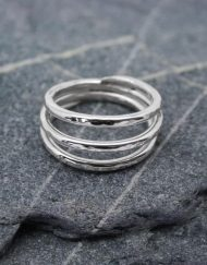 Three band silver coil ring with hammer finish | Starboard Jewellery