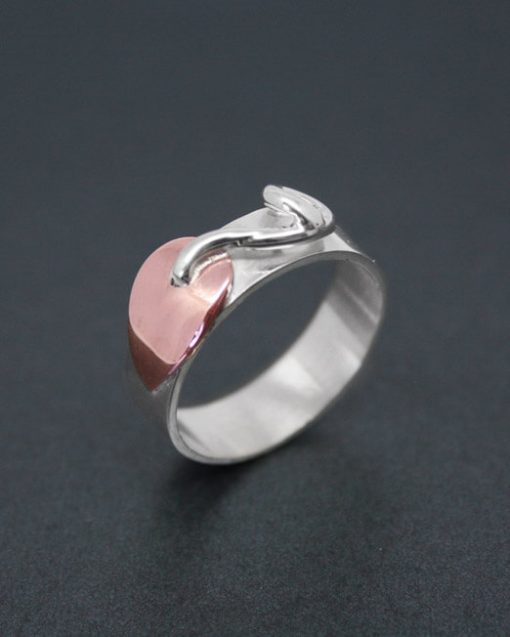 Silver ring with copper leaf | Starboard Jewellery