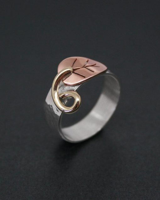 Handmade silver and copper leaf ring
