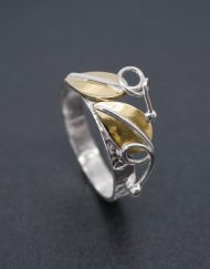Silver ring with two brass leaves | Starboard Jewellery