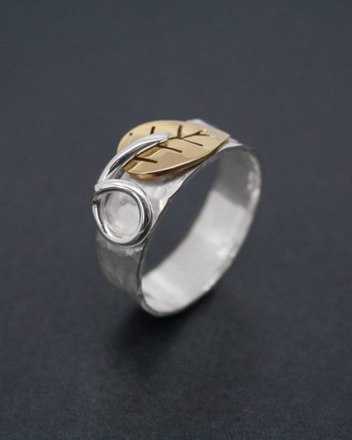 Silver ring with bronze leaf | Starboard Jewellery