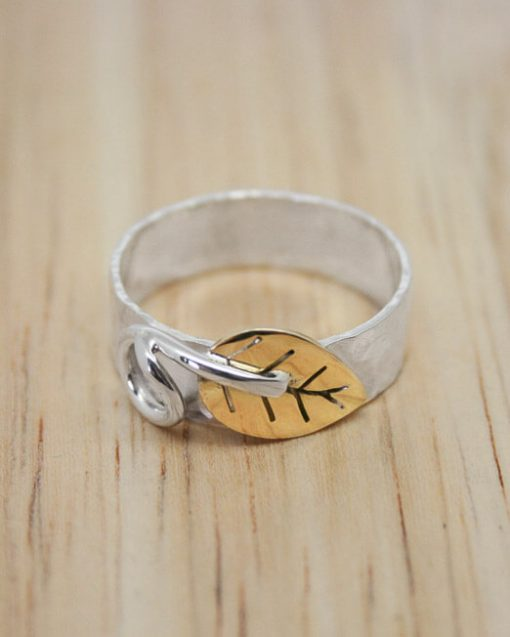 Silver ring with bronze leaf   Starboard Jewellery