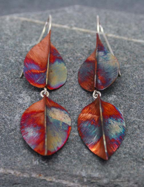 Double drop copper and silver leaf earrings