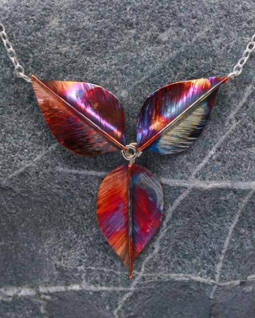 Copper leaf necklace on silver chain | Starboard Jewellery