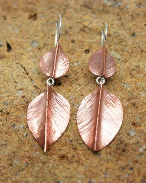 Double drop copper leaf & silver earrings | Starboard Jewellery