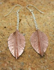 Copper leaf and silver earrings
