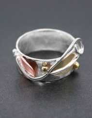 Silver leaf ring with copper and brass | Starboard Jewellery