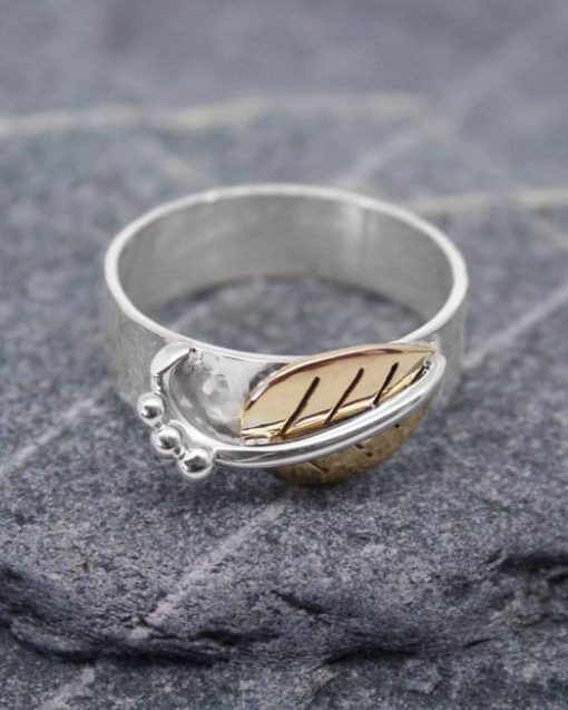 Silver ring with brass leaf & silver detail | Starboard Jewellery