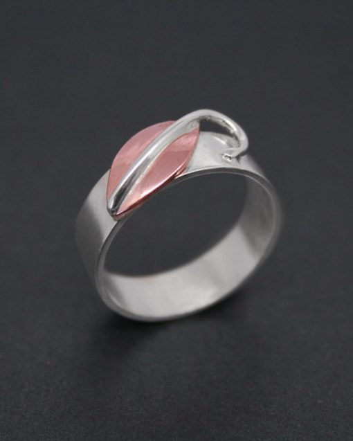 Handmade silver ring with copper leaf   Starboard Jewellery