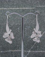 Dove with single flower drop earrings