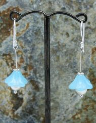 Bluebell glass beads with freshwater pearl drop earrings