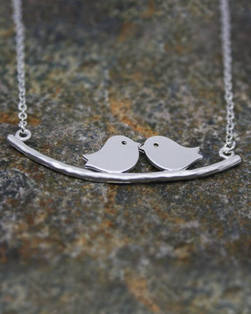 Two beautiful love birds on a branch pendant