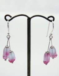 Frosted pink tulip drop earrings