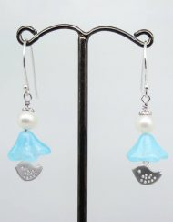 Love bird, bluebell glass and freshwater pearl earrings