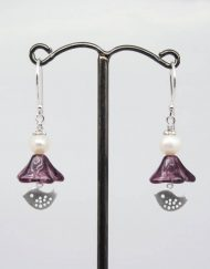 Lovebird, purple glass and freshwater pearl drop earrings
