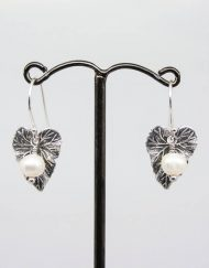 Vintage style leaf and freshwater pearl earrings