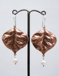 Copper leaf and freshwater pearl earrings