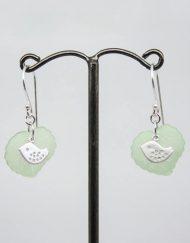 Lovely lovebird and leaf earrings