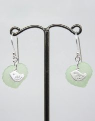 Lovely lovebird and leaf earrings