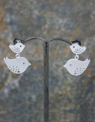 Mother and young love bird drop earrings