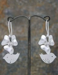 Flower and lovebird earrings