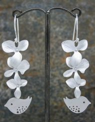 Flower cluster and lovebird earrings