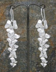 Elegant five long flower drop earrings