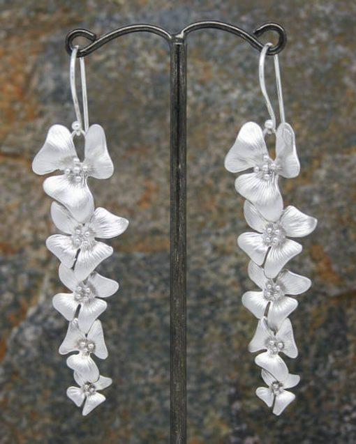 Elegant five long flower drop earrings