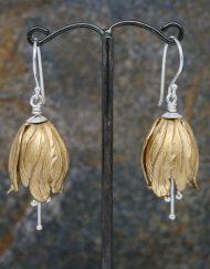 Brass tulip drop earrings