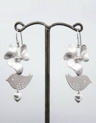 Flower cluster and love bird earrings