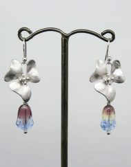 flower earrings with blue, purple and yellow glass tulip