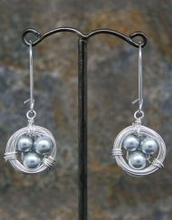 Pearl birds nest earrings