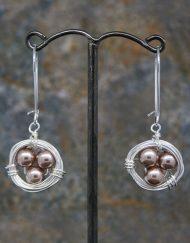 Pearl birds nest earrings
