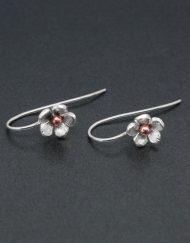 Silver and copper flower earrings on hook fittings