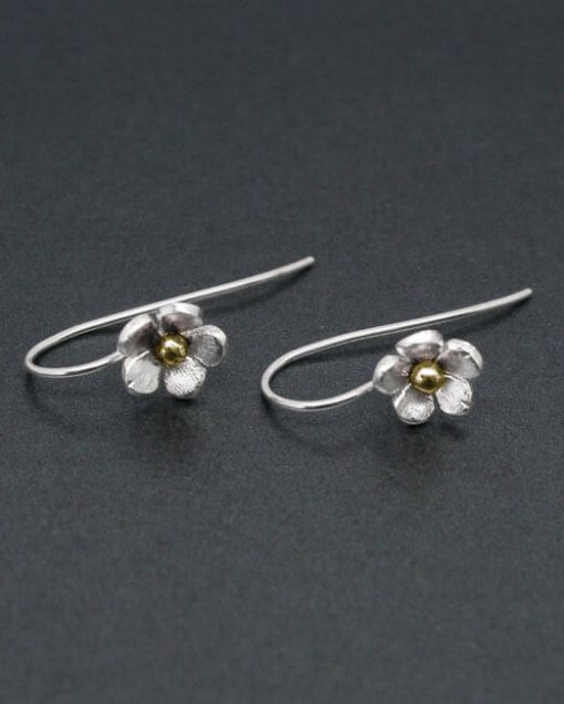 Sterling silver flower earrings on hook fittings with copper or brass 1