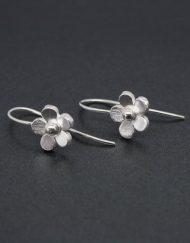 Silver flower earrings on hook fittings