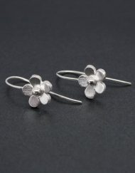 Silver flower earrings on hook fittings
