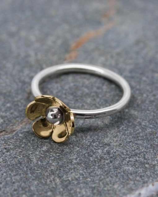 Bronze and silver flower ring flower ring