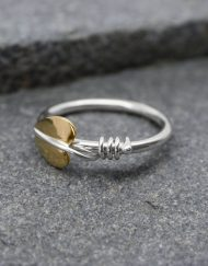 Silver and brass leaf ring with silver vine tendrils