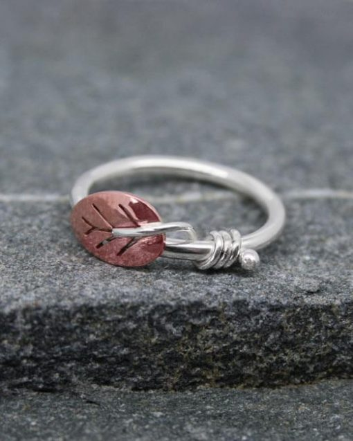 Silver ring with copper leaf
