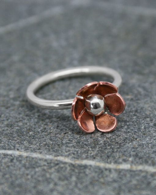 Copper and silver daisy ring