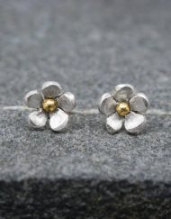 Handmade silver and brass flower stud earrings