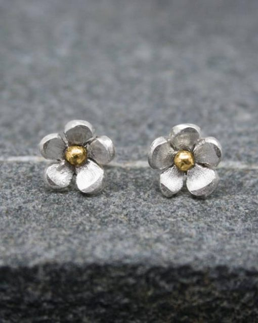 Silver-and-brass-flower-studs