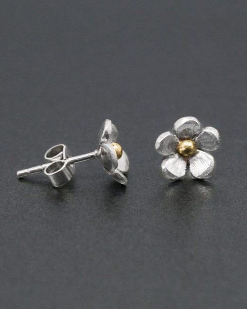 Handmade silver and brass flower stud earrings